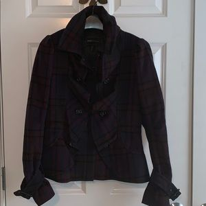 Bcbg Max Azria plaid wool coat